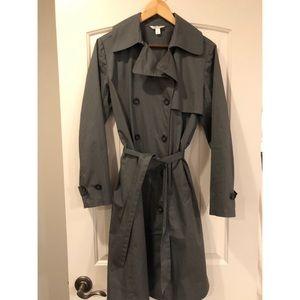 Garnet Hill Raincoat/Trench - XS Slate Blue/Gray.